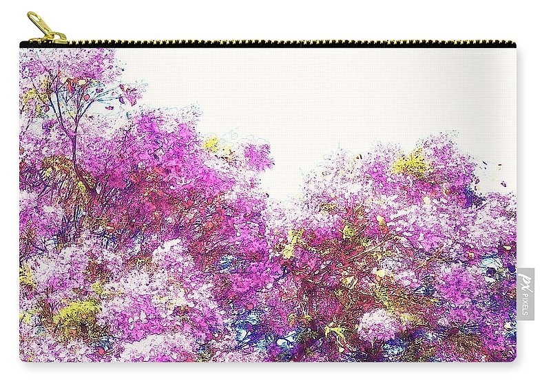 Bright Carry-all Pouch featuring the mixed media Jacaranda by Candee Lucas