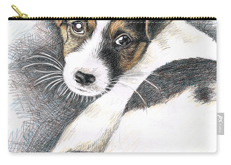 Dog Carry-all Pouch featuring the drawing Jack Russell Puppy by Nicole Zeug