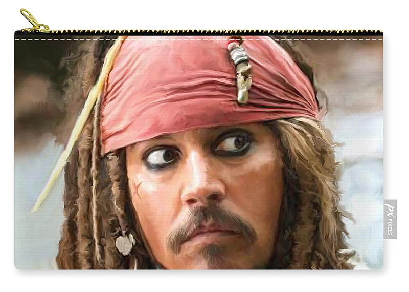 Depp Carry-all Pouch featuring the painting Jack Sparrow by Paul Tagliamonte