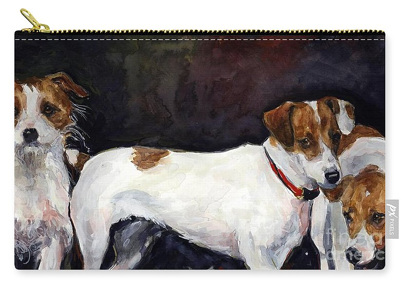 Jack Russell Terriers Carry-all Pouch featuring the painting Jack Trio by Molly Poole