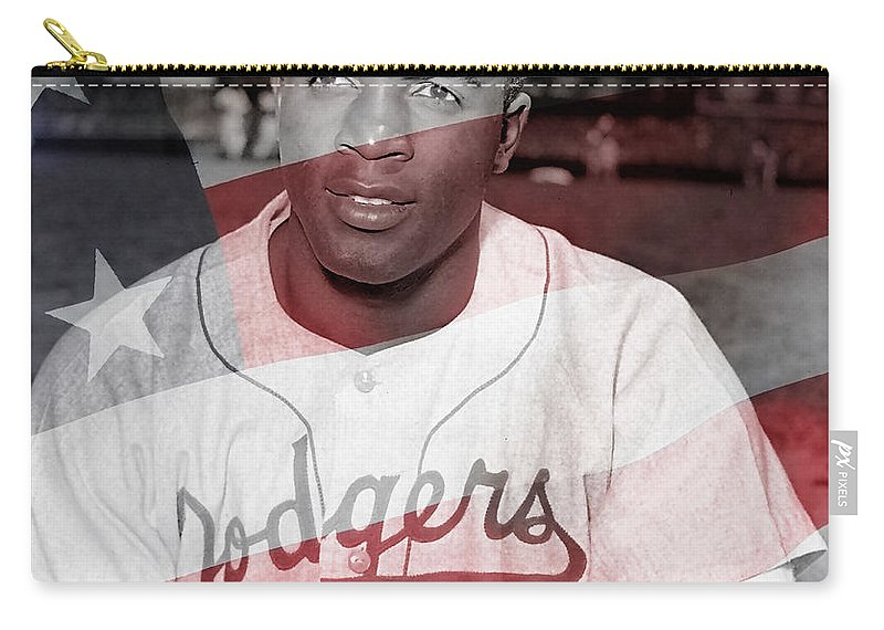 Jackie Robinson Carry-all Pouch featuring the mixed media Jackie Robinson by Marvin Blaine