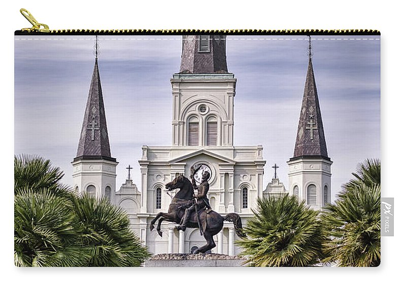 Saint Louis Cathedral Carry-all Pouch featuring the photograph Jackson Square by Heather Applegate