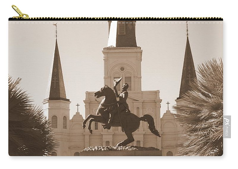 New Orleans Carry-all Pouch featuring the photograph Jackson Square Statue In Sepia by Carol Groenen