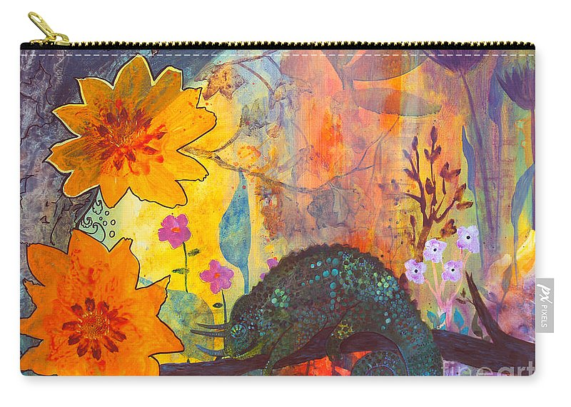 Chameleon Carry-all Pouch featuring the painting Jackson's Chameleon by Robin Maria Pedrero