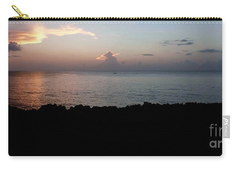 Color Carry-all Pouch featuring the photograph Jagged Sunset by Amar Sheow