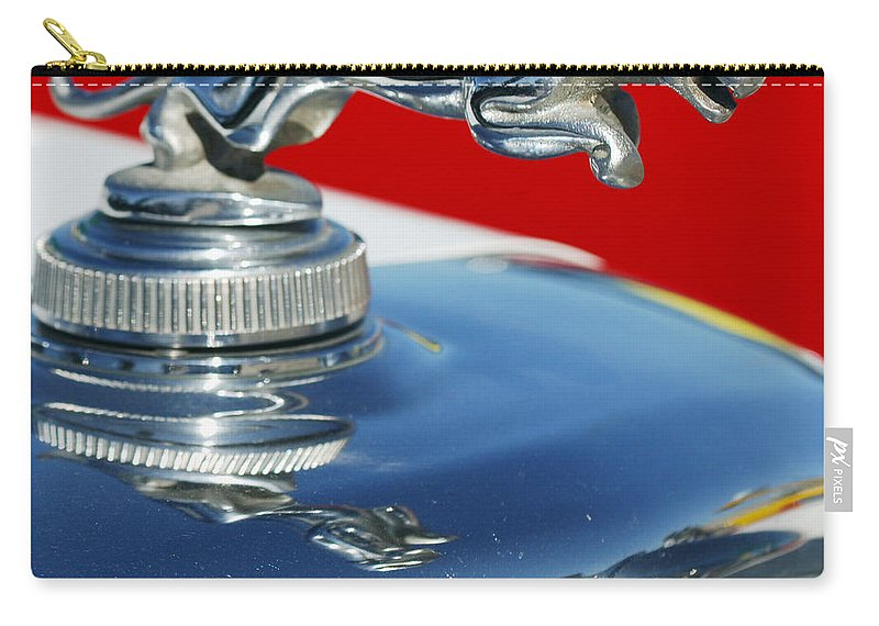 Jaguar Hood Ornament Carry-all Pouch featuring the photograph Jaguar Hood Ornament 2 by Jill Reger