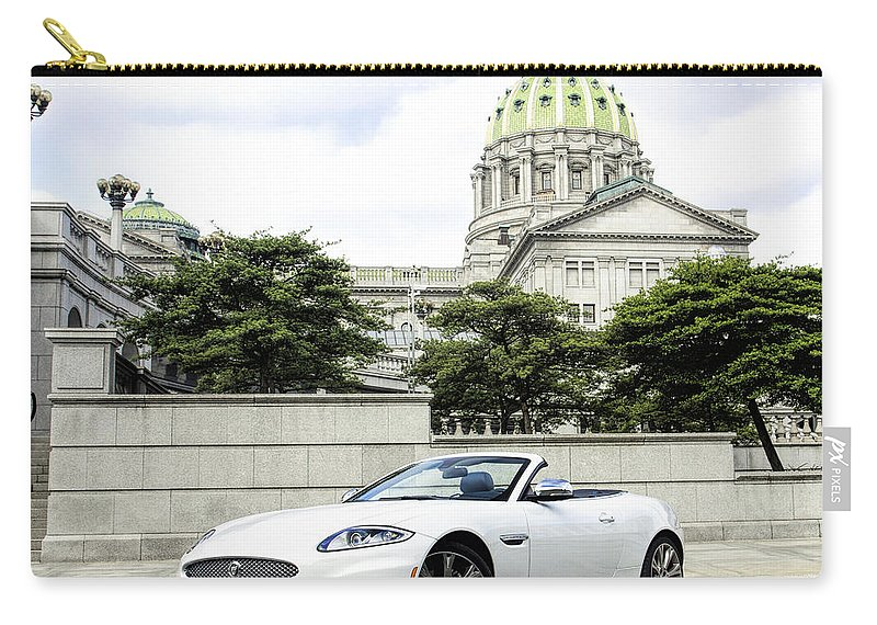 Jaguar Carry-all Pouch featuring the photograph Jaguar Xk And The Capitol Building by Jean Macaluso