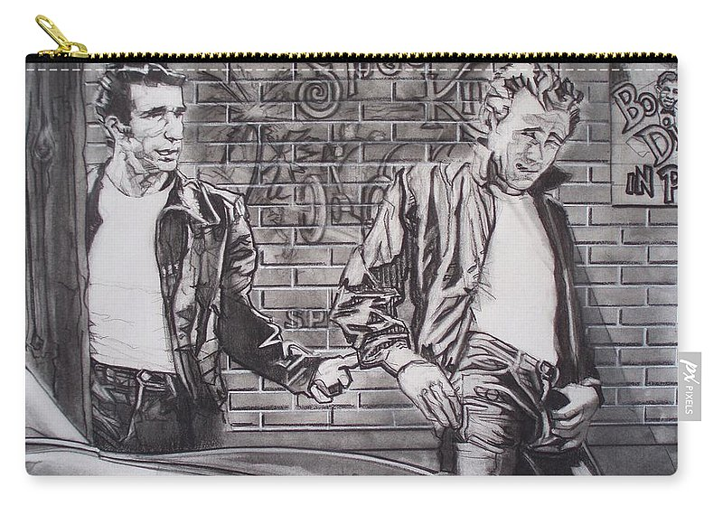 Americana Carry-all Pouch featuring the drawing James Dean Meets The Fonz by Sean Connolly