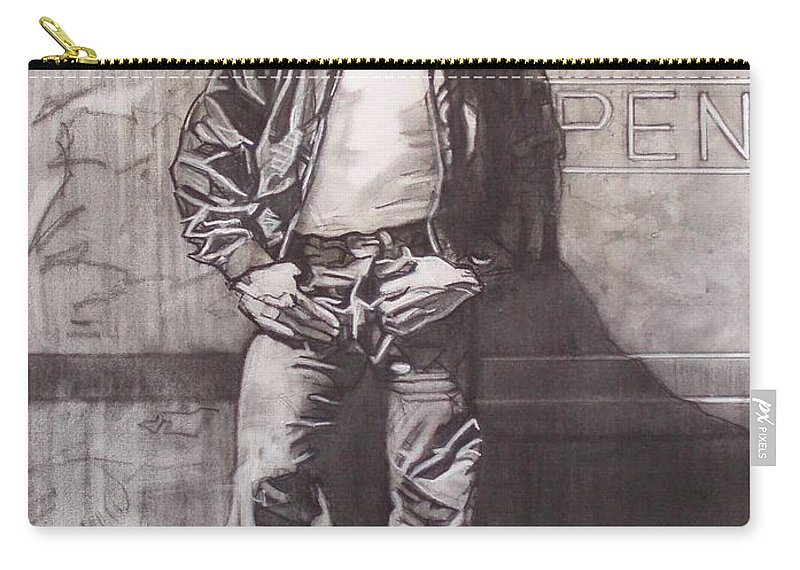 Charcoal; Icon;americana;cool;window;sidewalk;street;rock And Roll;jeans;t-shirt;diner;movie Star Carry-all Pouch featuring the drawing James Dean by Sean Connolly