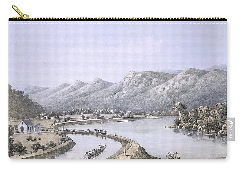 Virginia Carry-all Pouch featuring the drawing James River Canal Near The Mouth by Edward Beyer