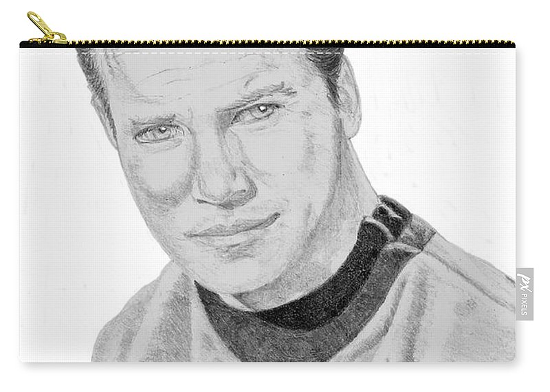 Captain Carry-all Pouch featuring the drawing James Tiberius Kirk by Thomas J Herring