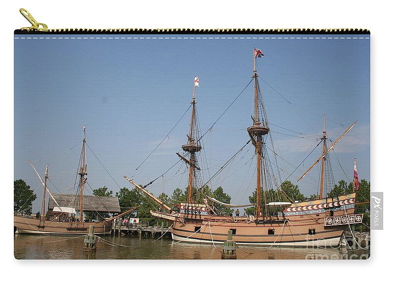 Ship Carry-all Pouch featuring the photograph Jamestown Historic Sailingships by Christiane Schulze Art And Photography