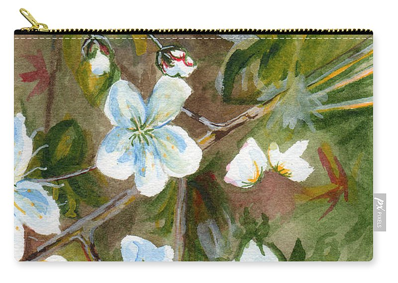 Flower Carry-all Pouch featuring the painting Jane's Apple Blossoms 1 by Judith Rice