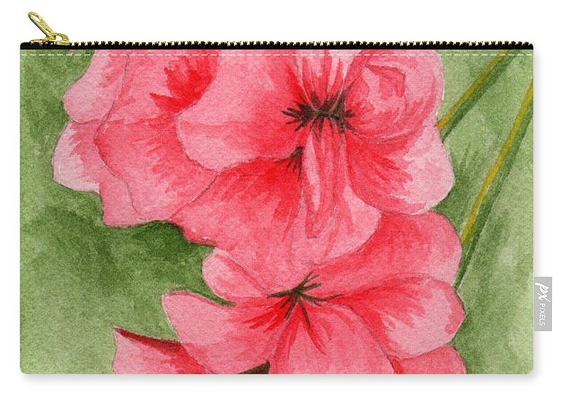 Flower Carry-all Pouch featuring the painting Jane's Flowers by Judith Rice