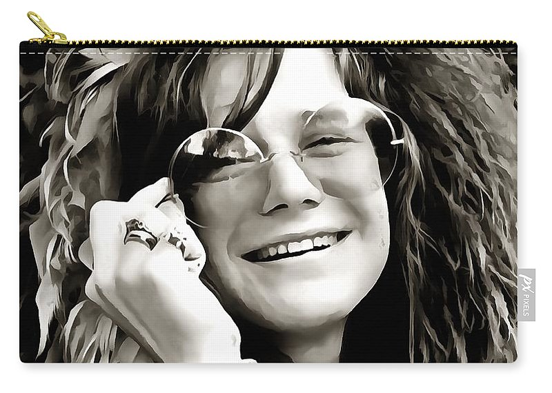 Janis Joplin Carry-all Pouch featuring the digital art Janis by Dan Sproul