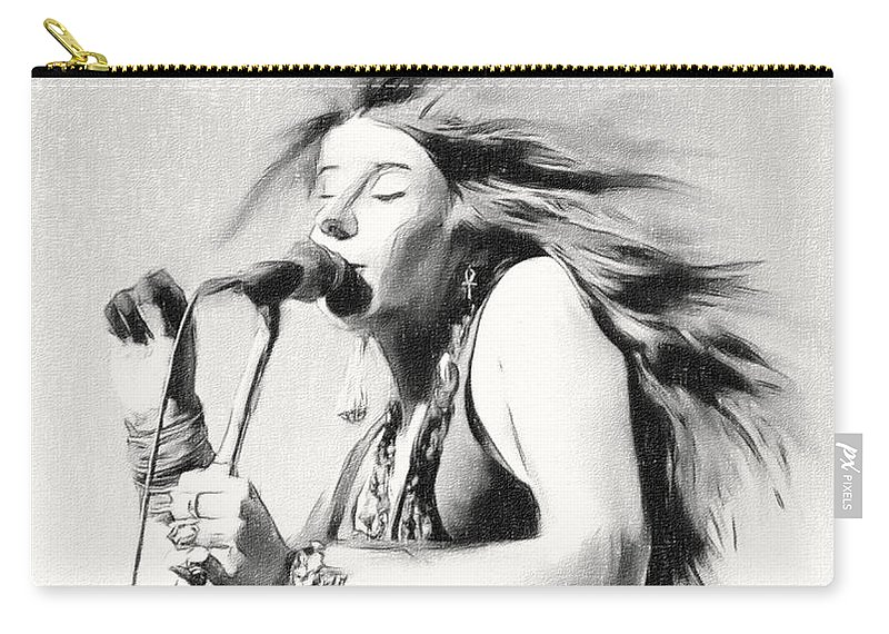 Janis Joplin Carry-all Pouch featuring the painting Janis Joplin by Angela Stanton