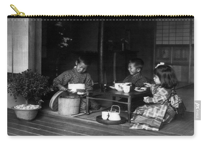 1890 Carry-all Pouch featuring the photograph Japan Tea Party by Granger