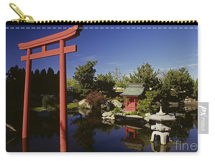 Stone Lantern Carry-all Pouch featuring the photograph Japanese Garden by Jim Corwin