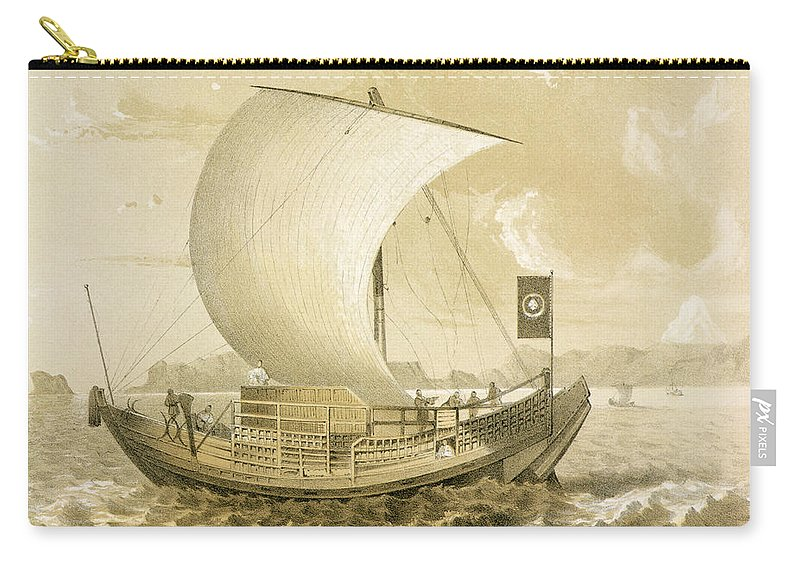 Print Carry-all Pouch featuring the drawing Japanese Junk by Meffert