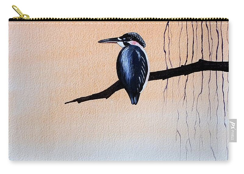Tattoo .japanese Carry-all Pouch featuring the painting Japanese Kawasemi Kingfisher Feng Shui Earth by Gordon Lavender