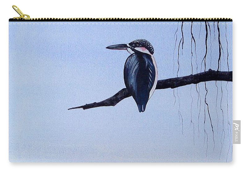 Japanese Carry-all Pouch featuring the painting Japanese Kawasemi Kingfisher Feng Shui Water by Gordon Lavender