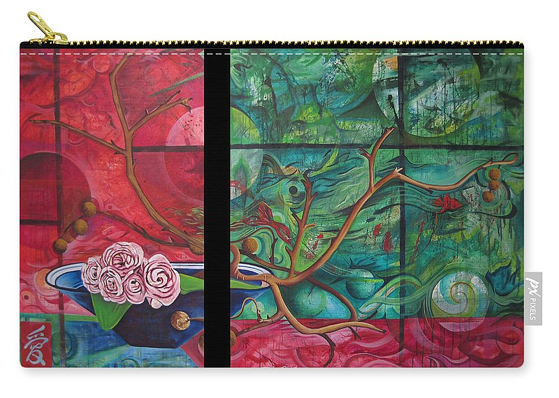Carry-all Pouch featuring the painting Japanesse Flower Arrangment by Joshua Morton
