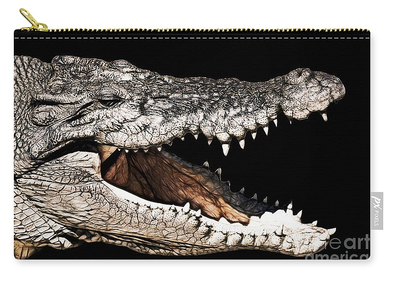 Salt Water Crocodile Carry-all Pouch featuring the photograph Jaws by Douglas Barnard