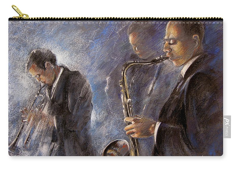 Jazz Carry-all Pouch featuring the painting Jazz 01 by Miki De Goodaboom