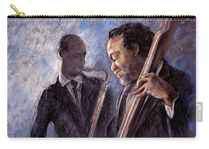 Jazz Carry-all Pouch featuring the painting Jazz 02 by Miki De Goodaboom