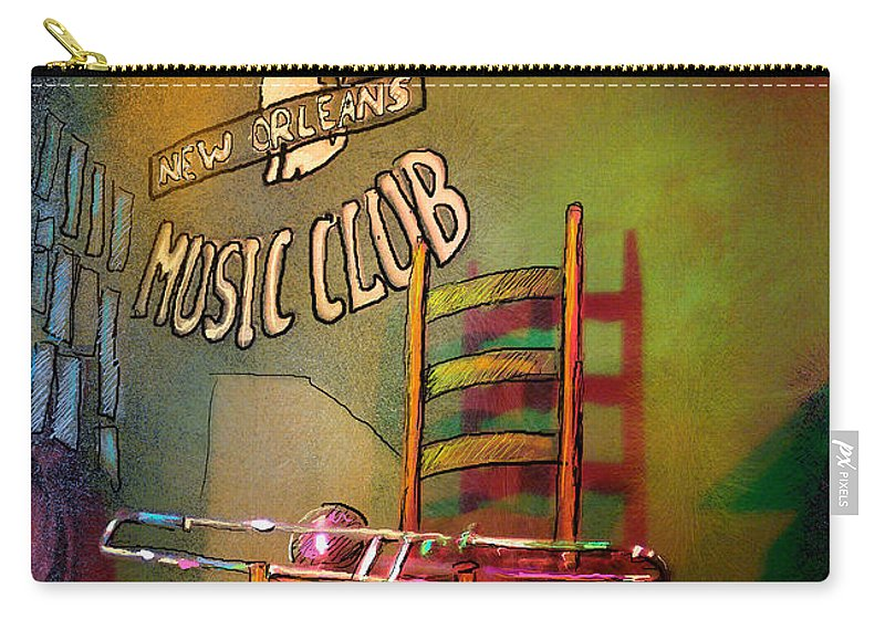 Jazz Carry-all Pouch featuring the painting Jazz Break In New Orleans by Miki De Goodaboom