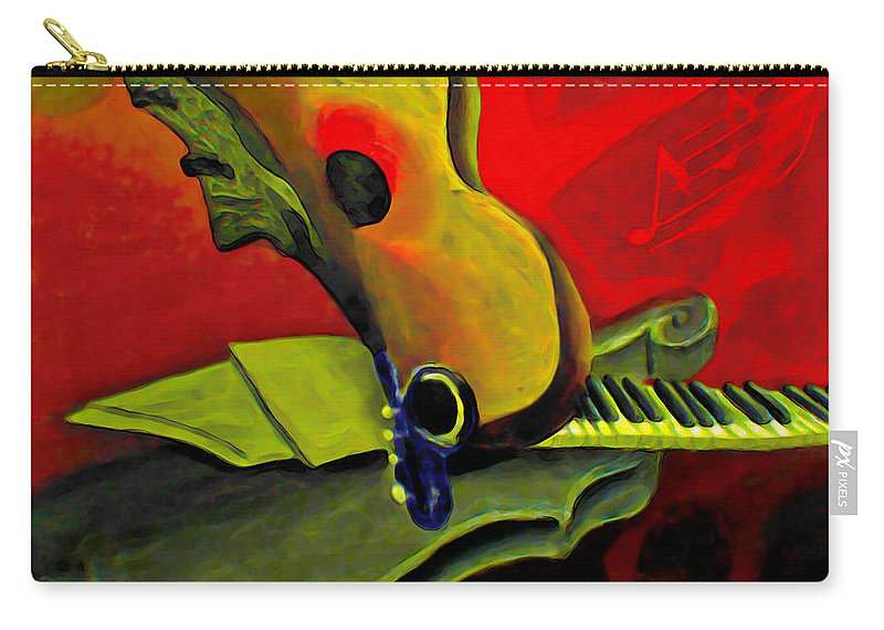 Abstract Carry-all Pouch featuring the painting Jazz Infusion by Fli Art