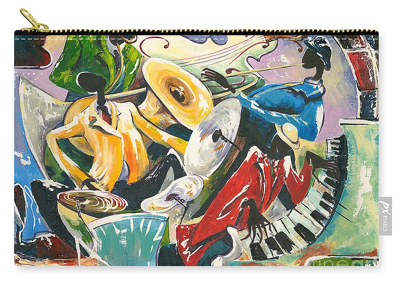 Canvas Prints Carry-all Pouch featuring the painting Jazz No. 3 by Elisabeta Hermann