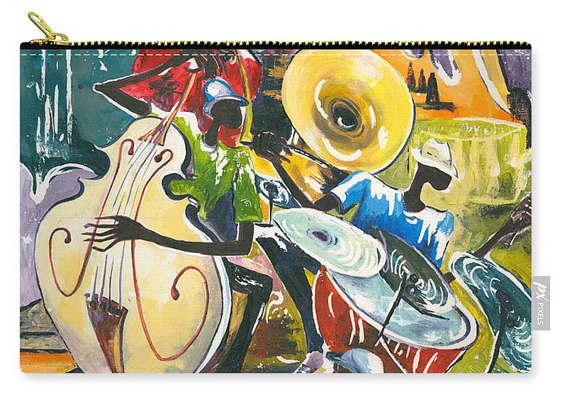 Acrylic Carry-all Pouch featuring the painting Jazz No. 4 by Elisabeta Hermann