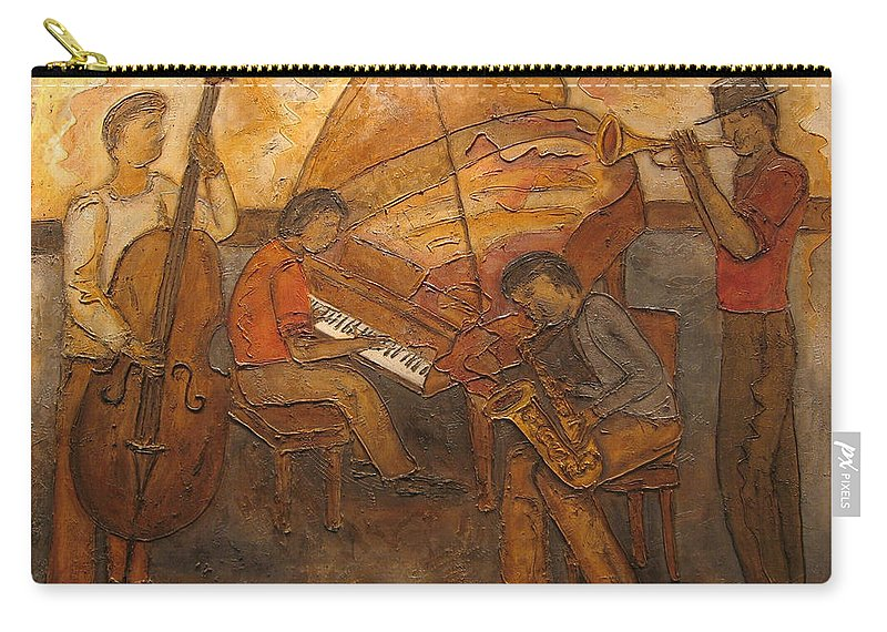 Impressionist Carry-all Pouch featuring the painting Jazz Quartet by Anita Burgermeister