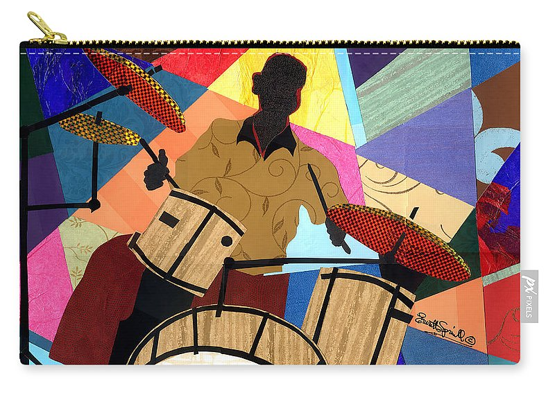 Everett Spruill Carry-all Pouch featuring the mixed media Jazzy Drummer by Everett Spruill