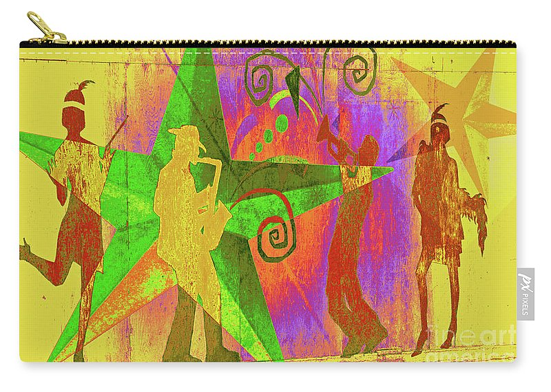Music Abstract Carry-all Pouch featuring the mixed media Jazzy by Molly McPherson