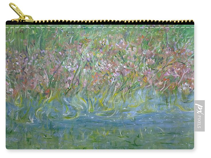 Whimsical Landscape Scene Carry-all Pouch featuring the painting je t'aime Monet by Sara Credito