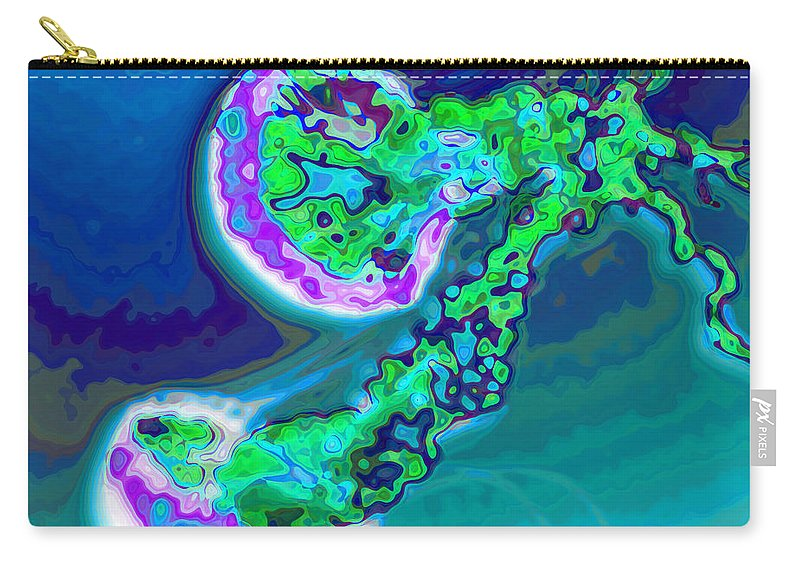 Tropic Carry-all Pouch featuring the photograph Jelly Fish Pop Art Blue by Eti Reid