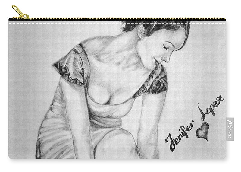 Jennifer Lopez Carry-all Pouch featuring the drawing Jeniffer Lopez by Alban Dizdari