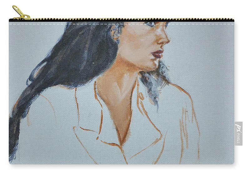 Jennifer Connelly Carry-all Pouch featuring the painting Jennifer Connelly by Bryan Bustard