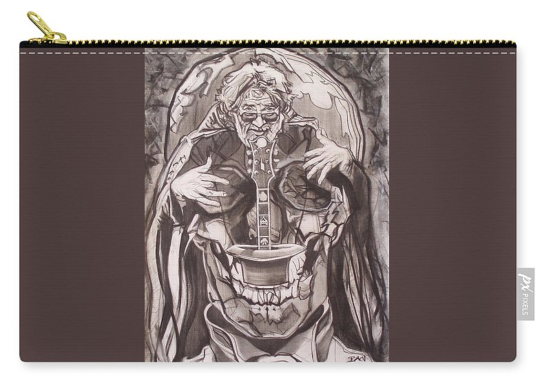 Charcoal Carry-all Pouch featuring the drawing Jerry Garcia . . Magic Is What We Do - Music Is How We Do It by Sean Connolly