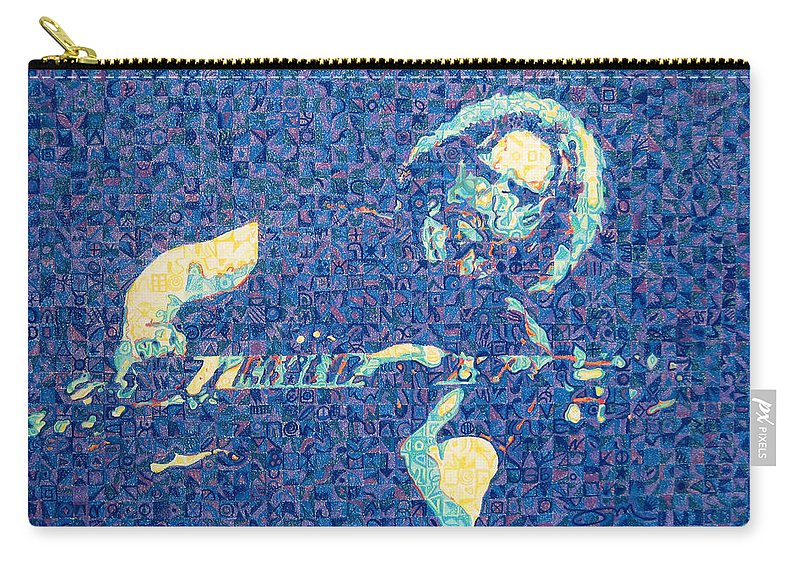Jerry Garcia Carry-all Pouch featuring the drawing Jerry Garcia Chuck Close Style by Joshua Morton