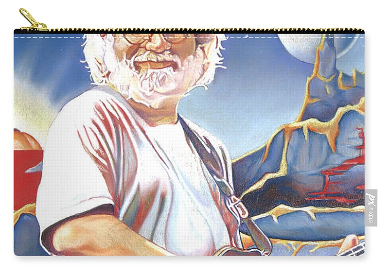 Jerry Garcia Carry-all Pouch featuring the drawing Jerry Garcia Live At The Mars Hotel by Joshua Morton