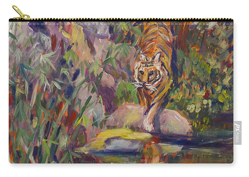 Tiger Carry-all Pouch featuring the painting Jerrys Tiger by Avonelle Kelsey
