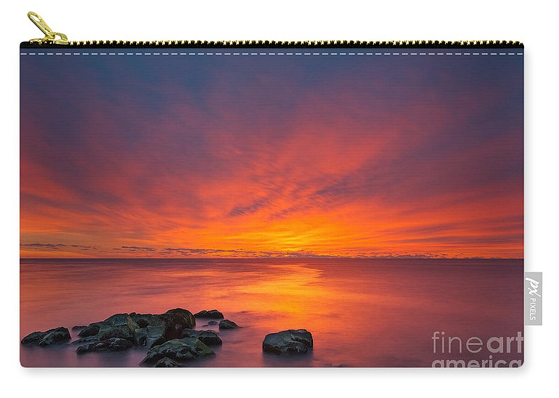 Fire In The Sky Carry-all Pouch featuring the photograph Jersey Shores Fire In The Sky Version 2 by Michael Ver Sprill