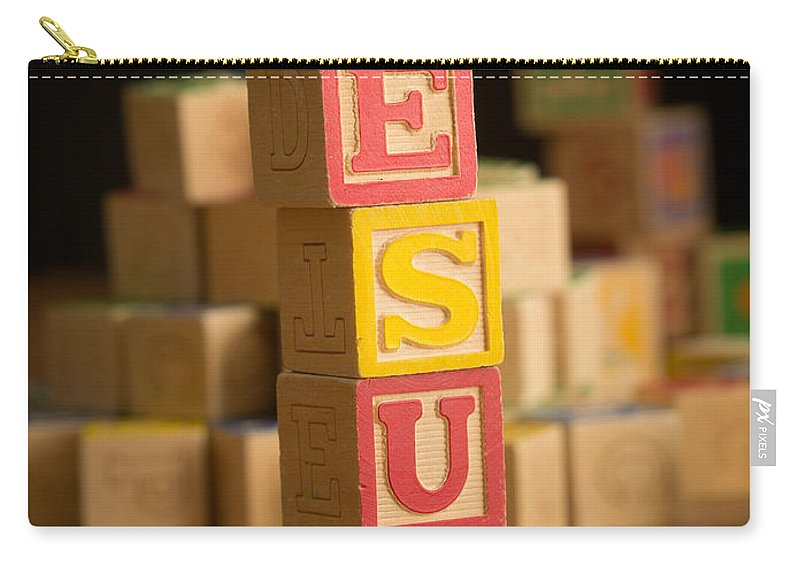 Alphabet Carry-all Pouch featuring the photograph Jesus - Alphabet Blocks by Edward Fielding
