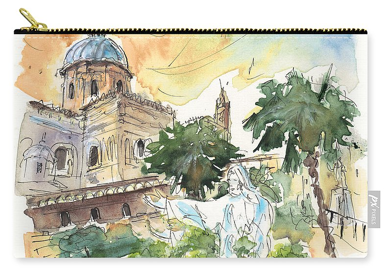 Travel Carry-all Pouch featuring the painting Jesus By Palermo Cathedral by Miki De Goodaboom