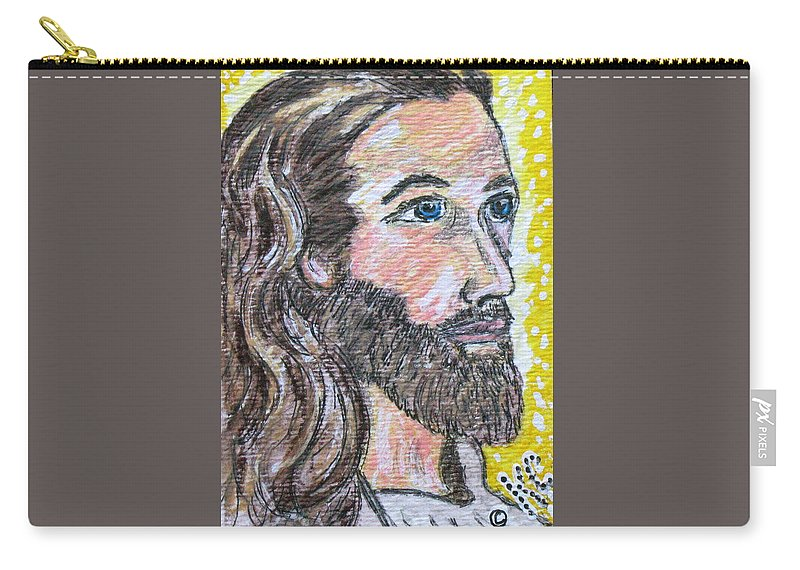 Jesus Christ Carry-all Pouch featuring the painting Jesus Christ by Kathy Marrs Chandler