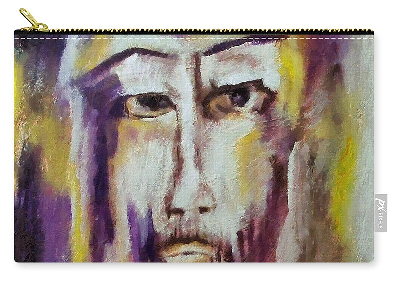 Sacred Carry-all Pouch featuring the mixed media Jesus by Dragica Micki Fortuna