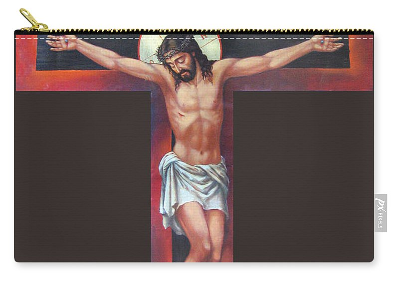 Zorina Baldescu Carry-all Pouch featuring the digital art Jesus On The Cross by Zorina Baldescu
